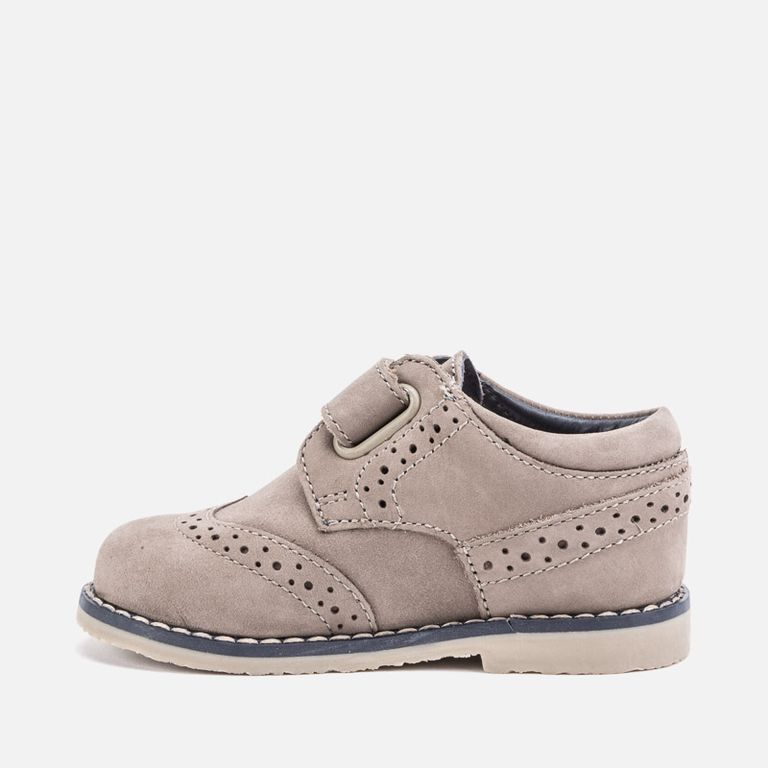 Ботинки серые на липучке кожа для мальчика (р. 24)