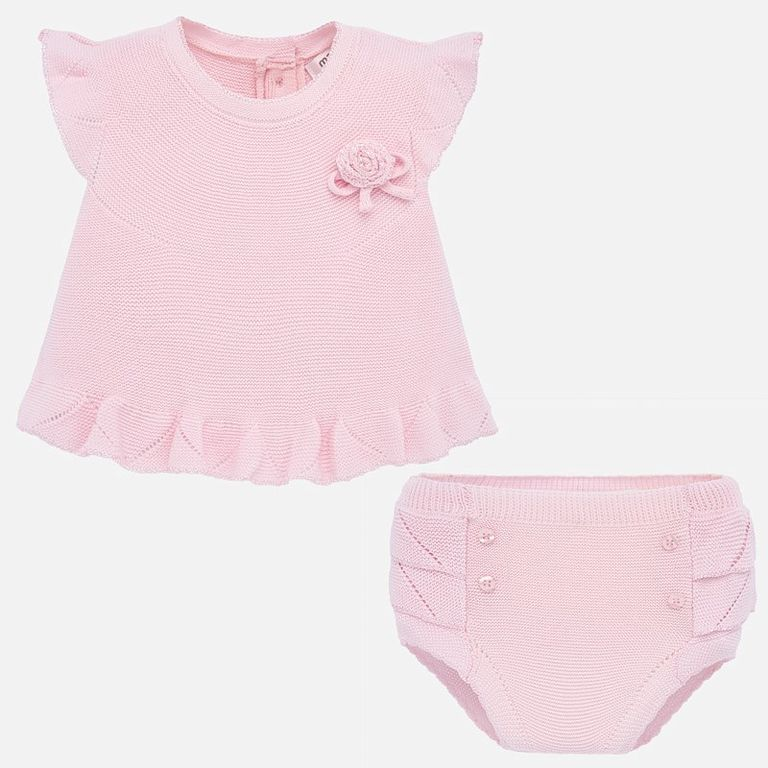 Вязаный комплект: блузка и трусики «Rose» (4-6 мес)