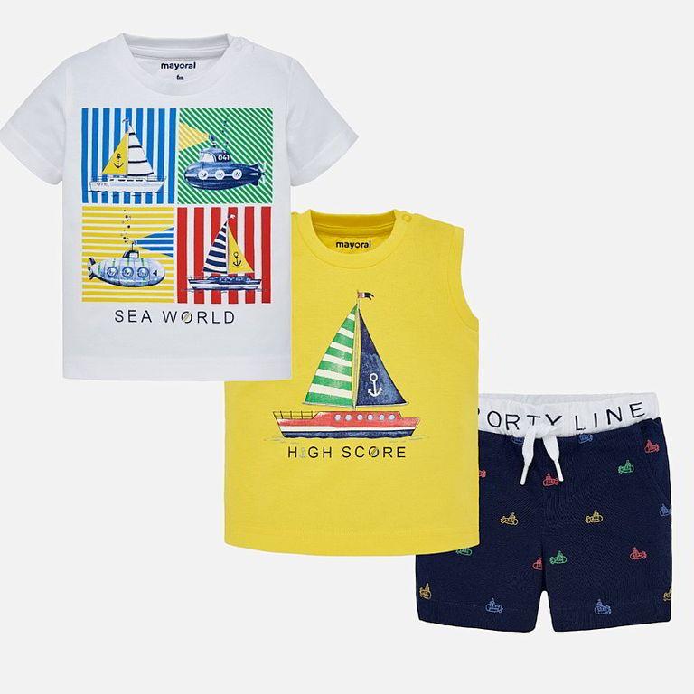 К-т: футболка, майка, шорты «Парусник и подлодка» (9 мес)