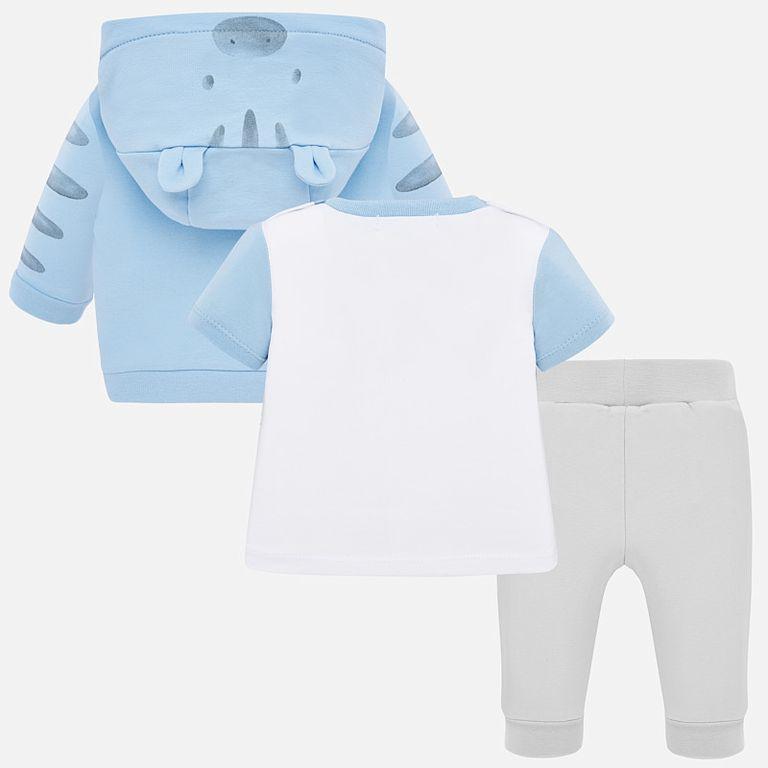 Комплект голубой: брюки, футболка и кофта (6-9 мес)