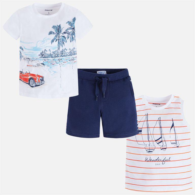 Комплект: шорты, футболка и майка (7,8,9 лет)