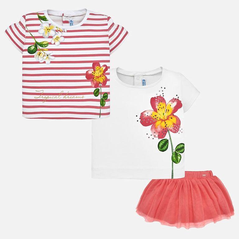 Комплект: юбка и 2 футболки «Герань» (12,18 мес)