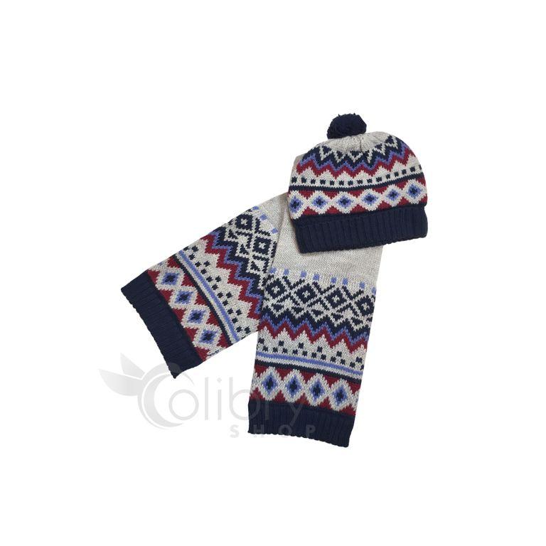Комплкет: шапка и шарф для мальчика (9-12 мес)