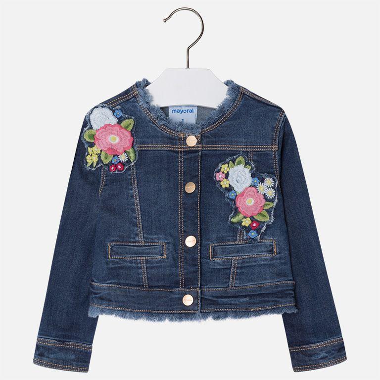 Куртка джинсовая «Цветы» (3,4,5,7,8,9 лет)