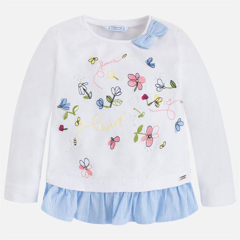 Лонгслив белый «Цветы» (3,4,8,9 лет)