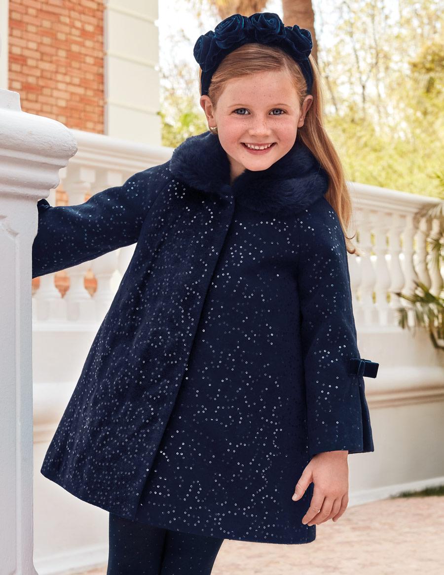 Пальто синее «Пайетки» (7,8 лет)