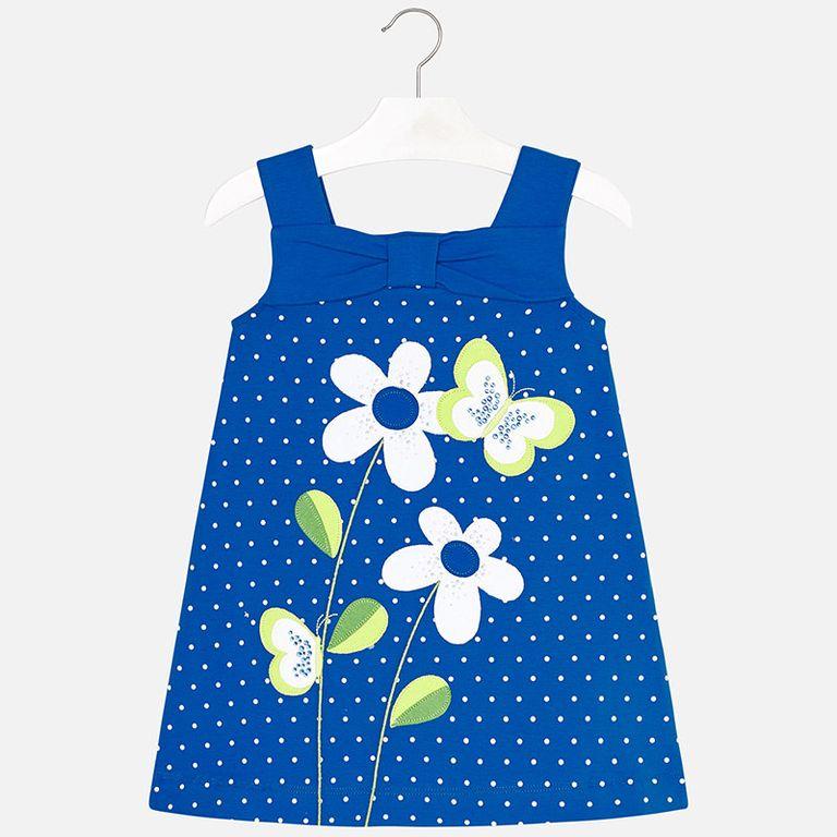Платье голубое «Цветы» (3,4,5 лет)