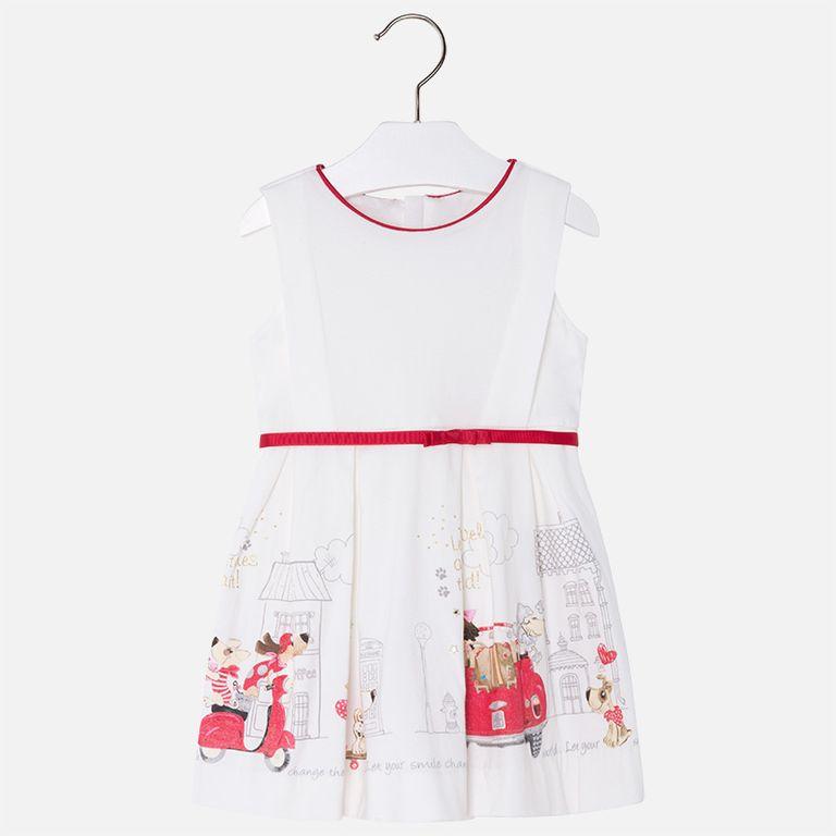 Платье «Собачки в городе» с ремнем (3,6,7 лет)