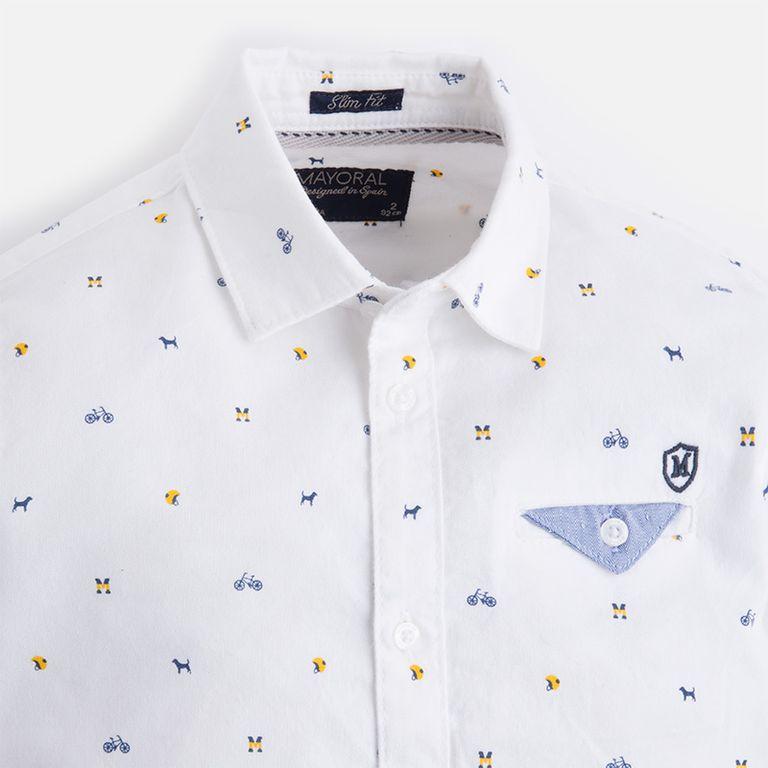 Рубашка белая с велосипедами (4, 6 лет)
