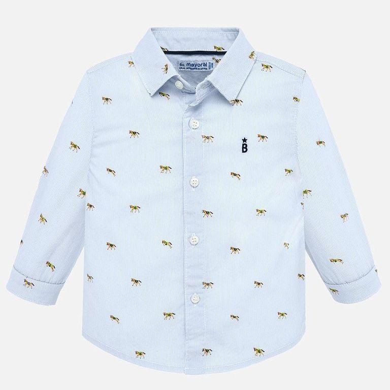 Рубашка годубая «Лошадки» (9,12 мес)