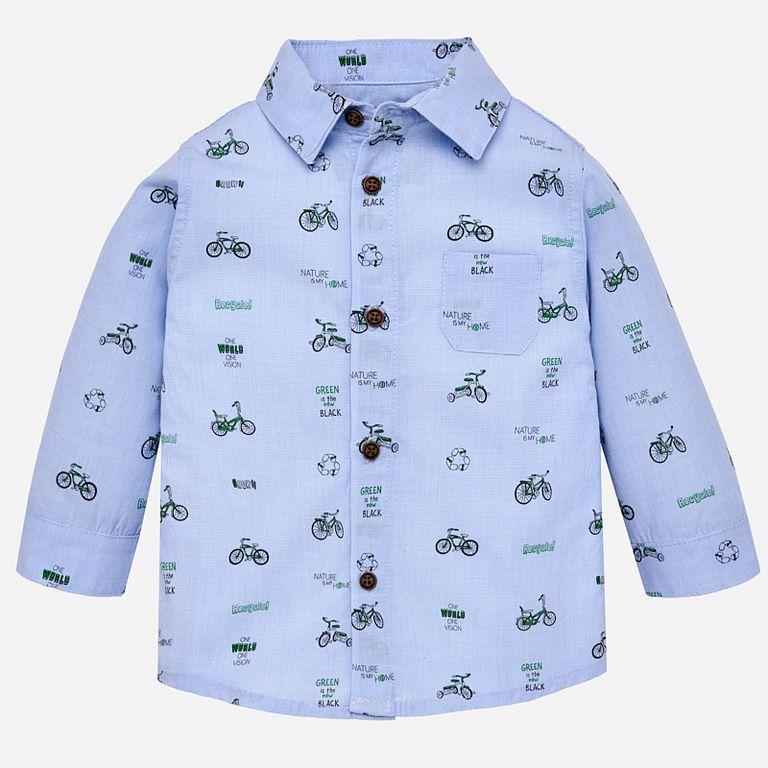 Рубашка голубая «Велосипеды» (12,24,36 мес)