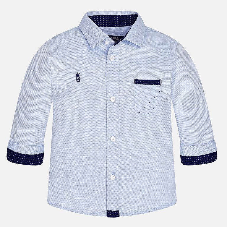 Рубашка голубая с заплатками (9 мес)