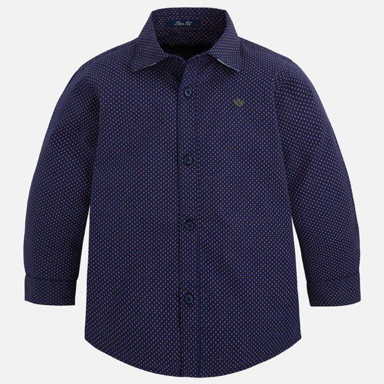 Рубашка темно-синяя с узорами (6, 9 лет)
