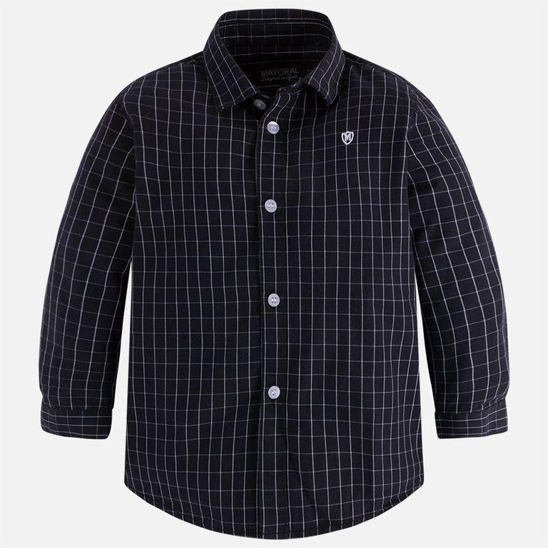 Рубашка черная в белую клетку (4 года)