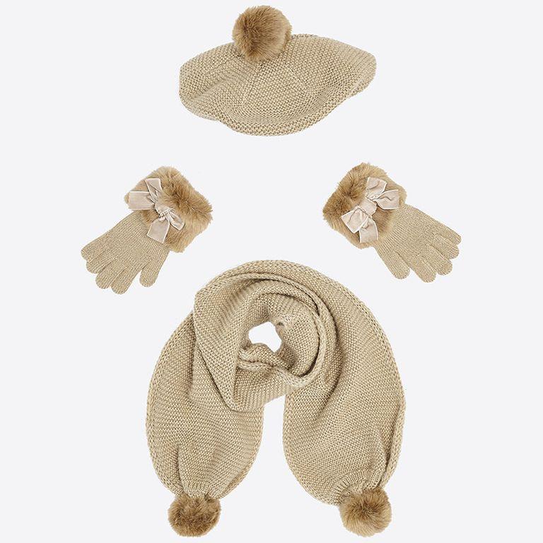 Шапка, шарф и перчатки «Золото» (4,6,8 лет)